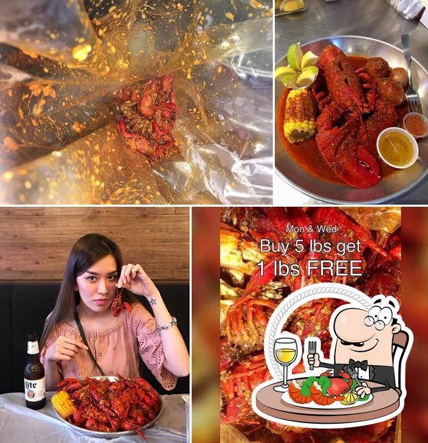 Order various seafood dishes served at Hotspot Cajun seafood house