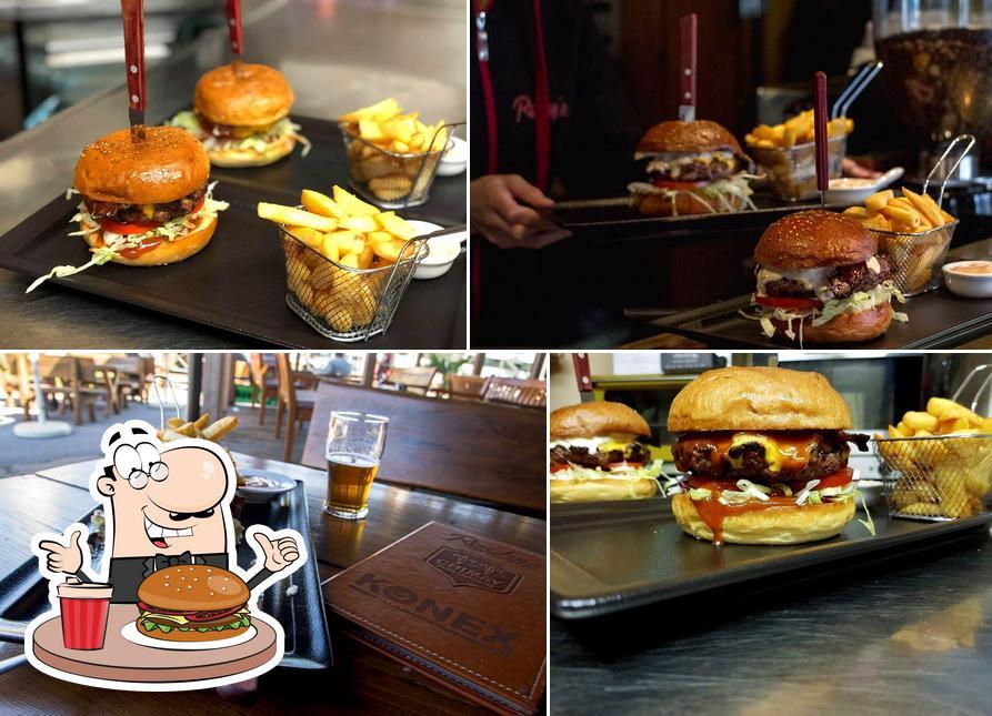Order a burger at Rocky's
