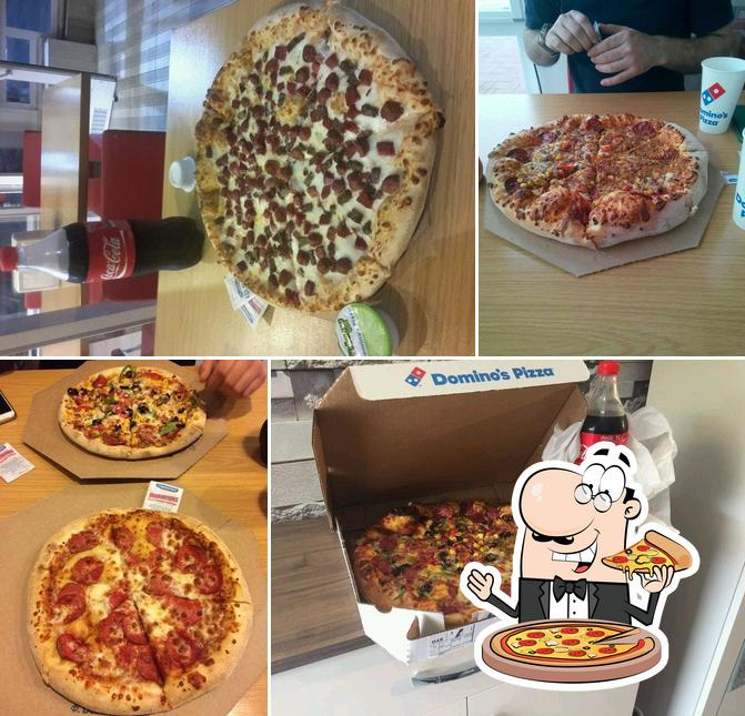 Try out pizza at Domino's Pizza
