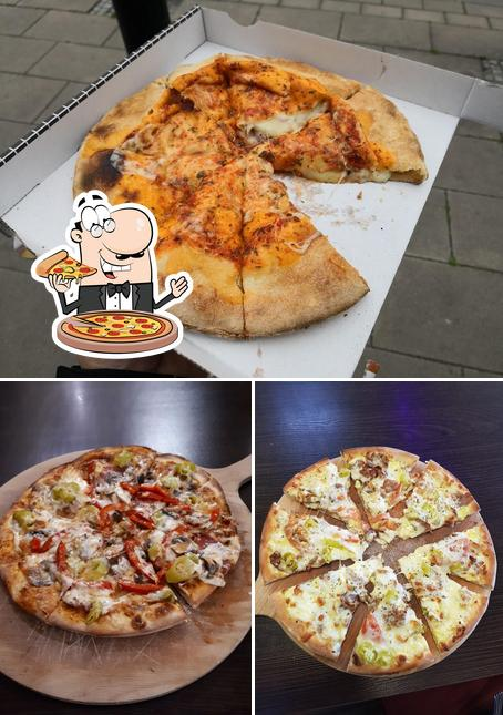 Probiert verschiedene Arten von Pizza