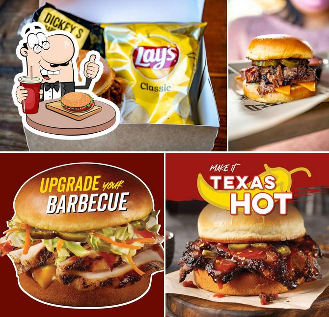 Try out a burger at Dickey's Barbecue Pit