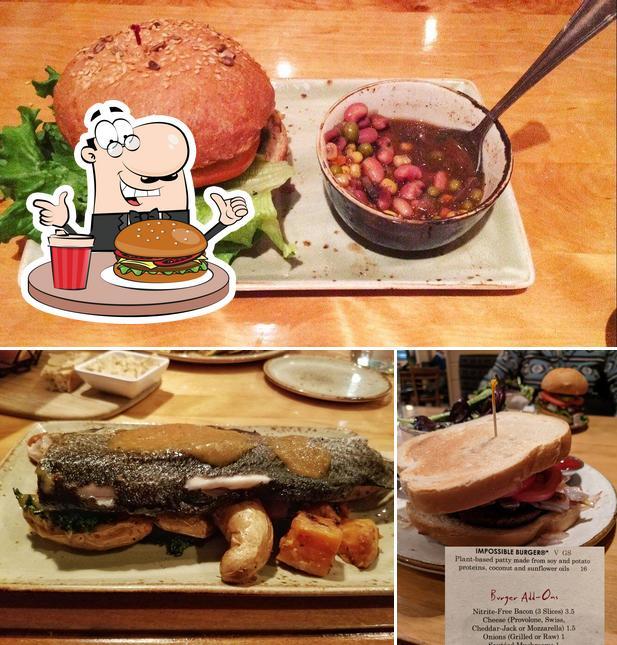 Get a burger at Good Earth