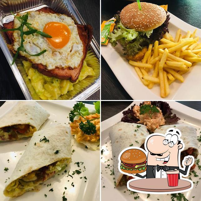 Holt einen Burger bei Piccolo