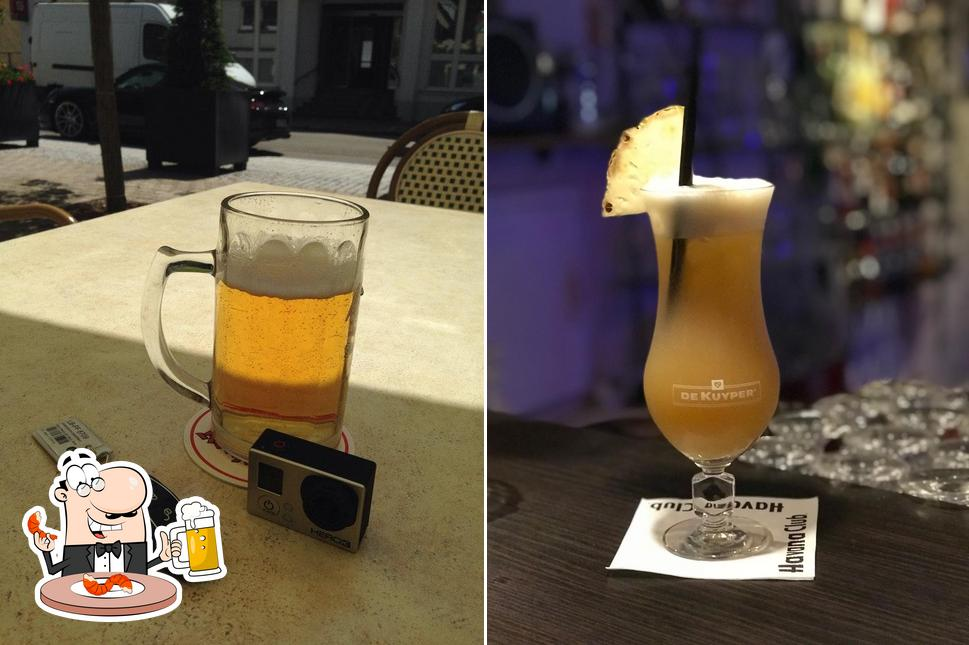You can get a pint of light or dark beer