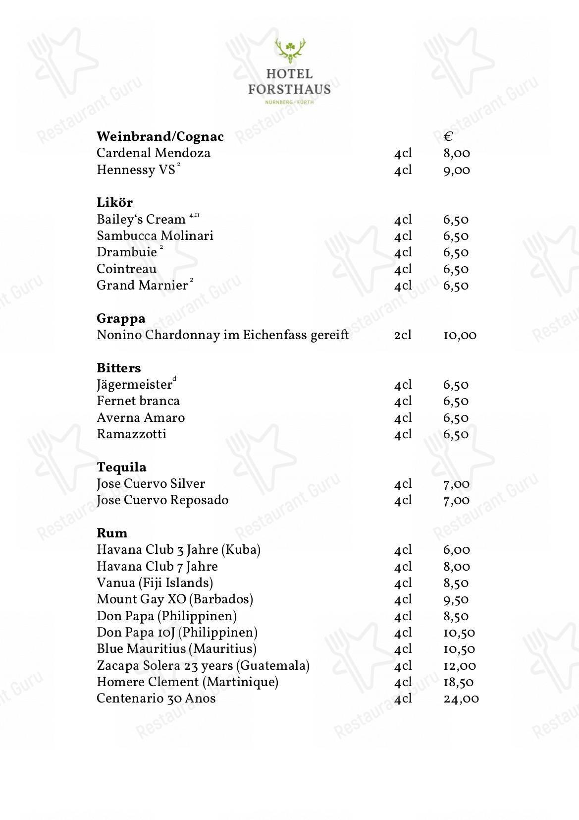 Меню NH Forsthaus Furth - блюда и напитки