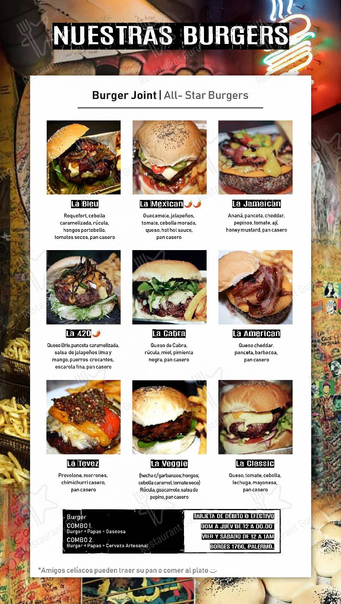 Burger Joint menu