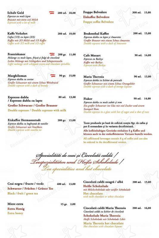 Check out the menu for Cafe Wien