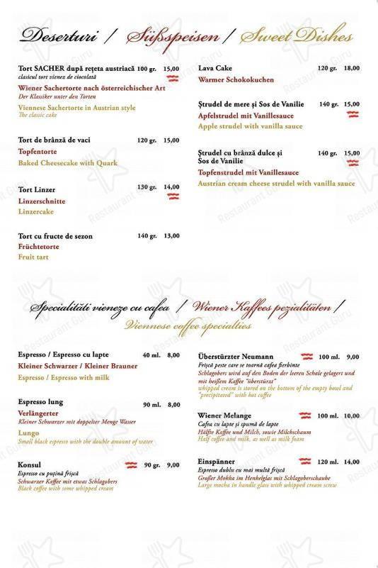 Menu for the Cafe Wien cafe