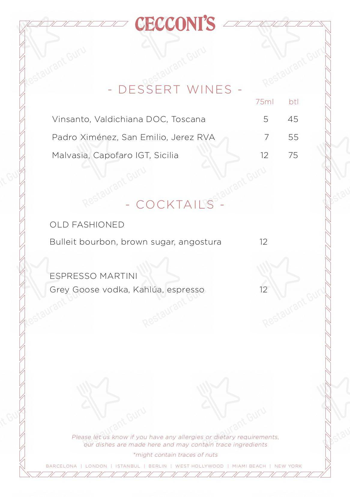 Check out the menu for Cecconi's Barcelona