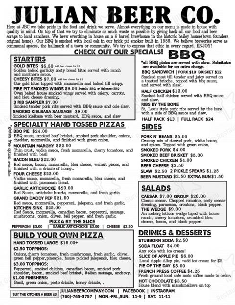 Check out the menu for Julian Beer Co