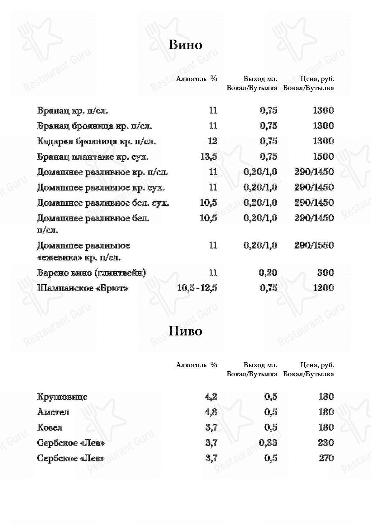 Взгляните на меню Сербия