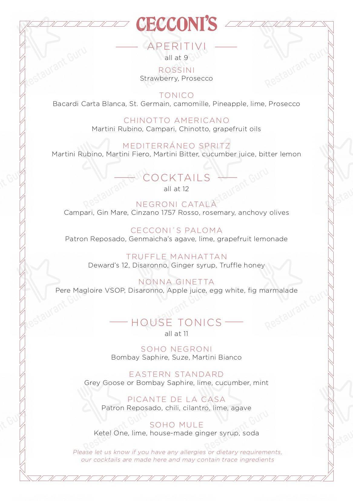 Menu for the Cecconi's Barcelona restaurant