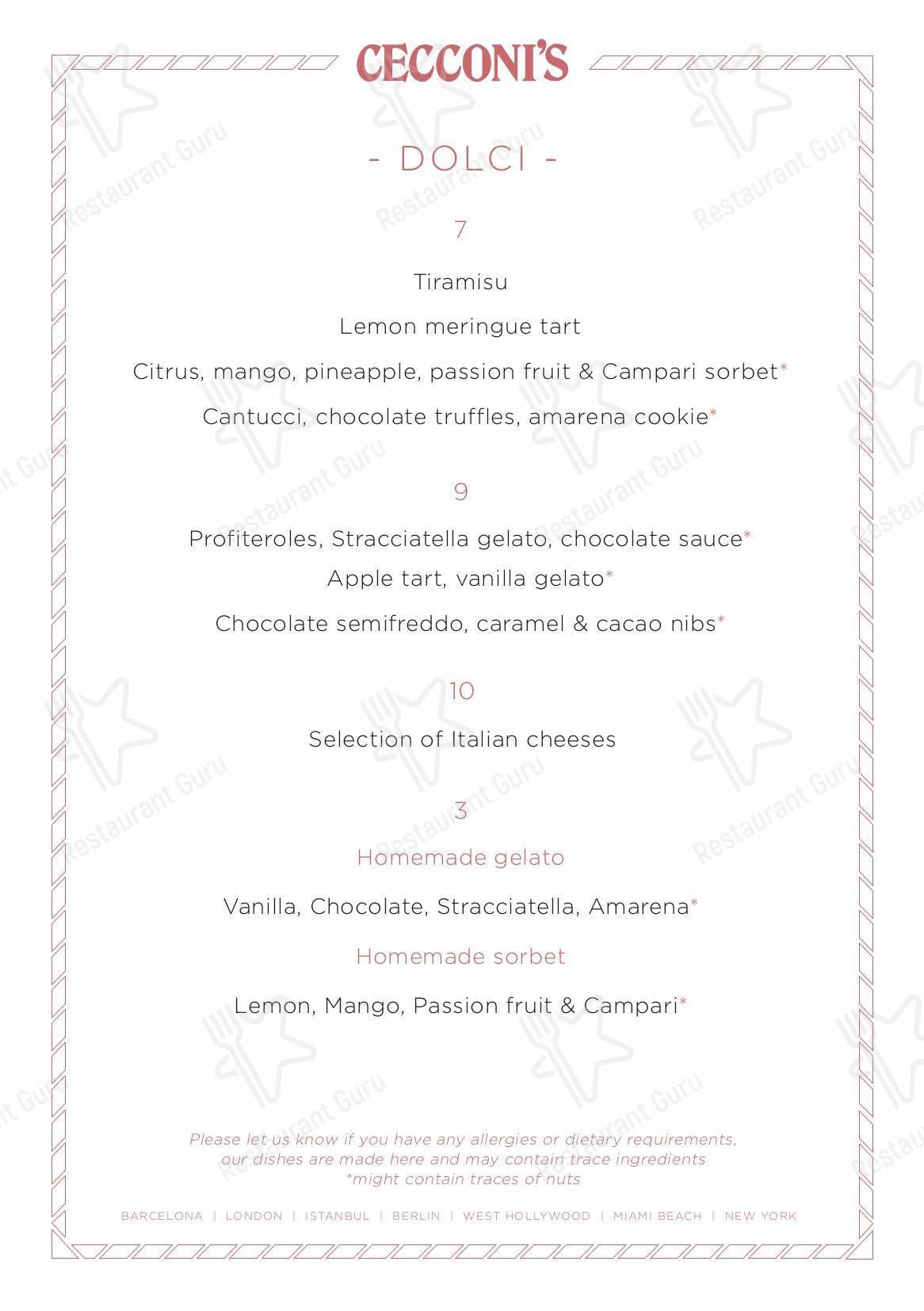 Cecconi's Barcelona menu