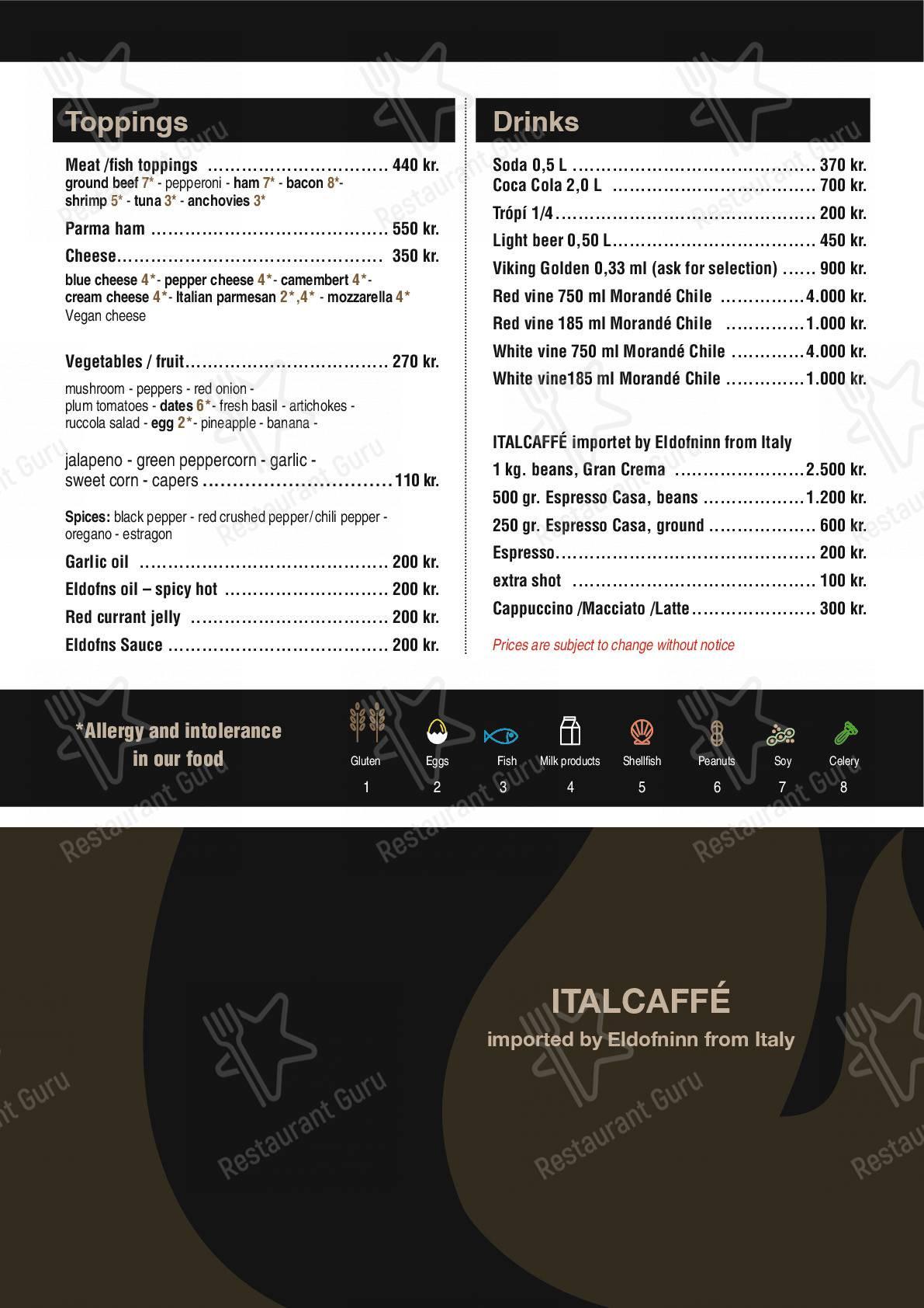 Взгляните на меню Eldofninn pizzeria