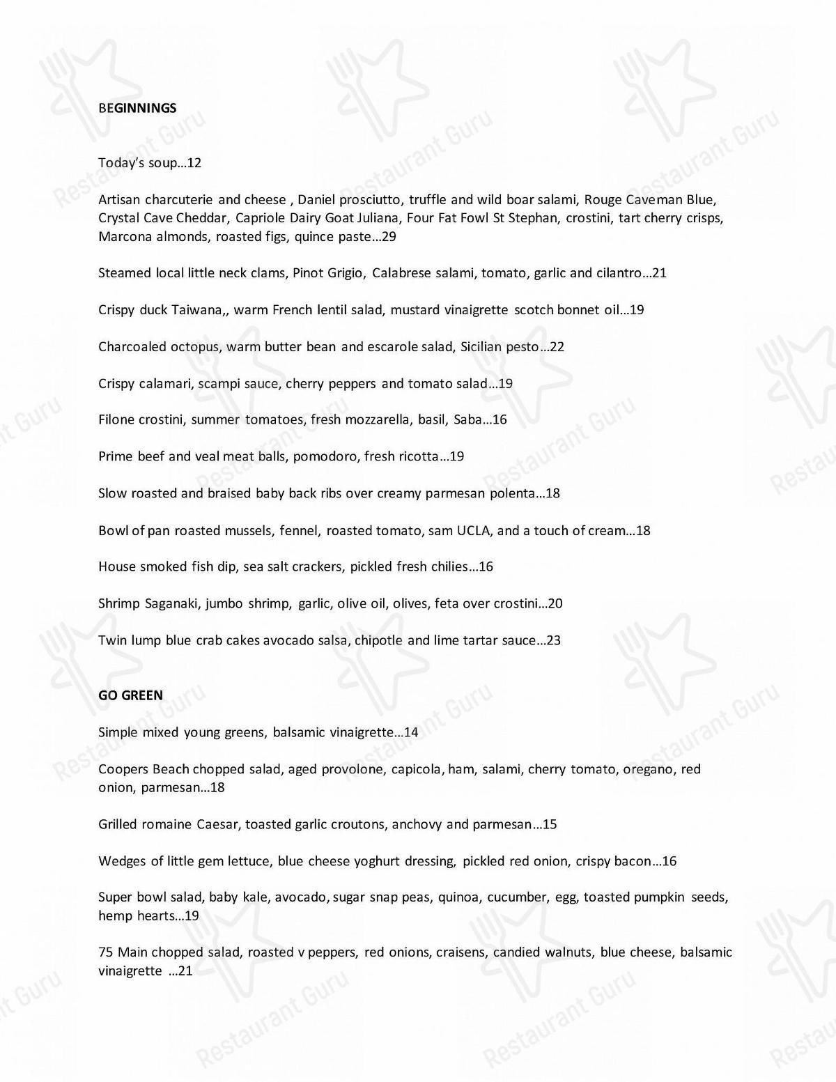 75 Main menu - dishes and beverages