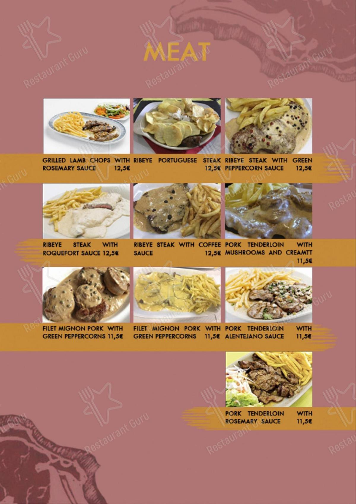 Galeria menu - refeições e bebidas