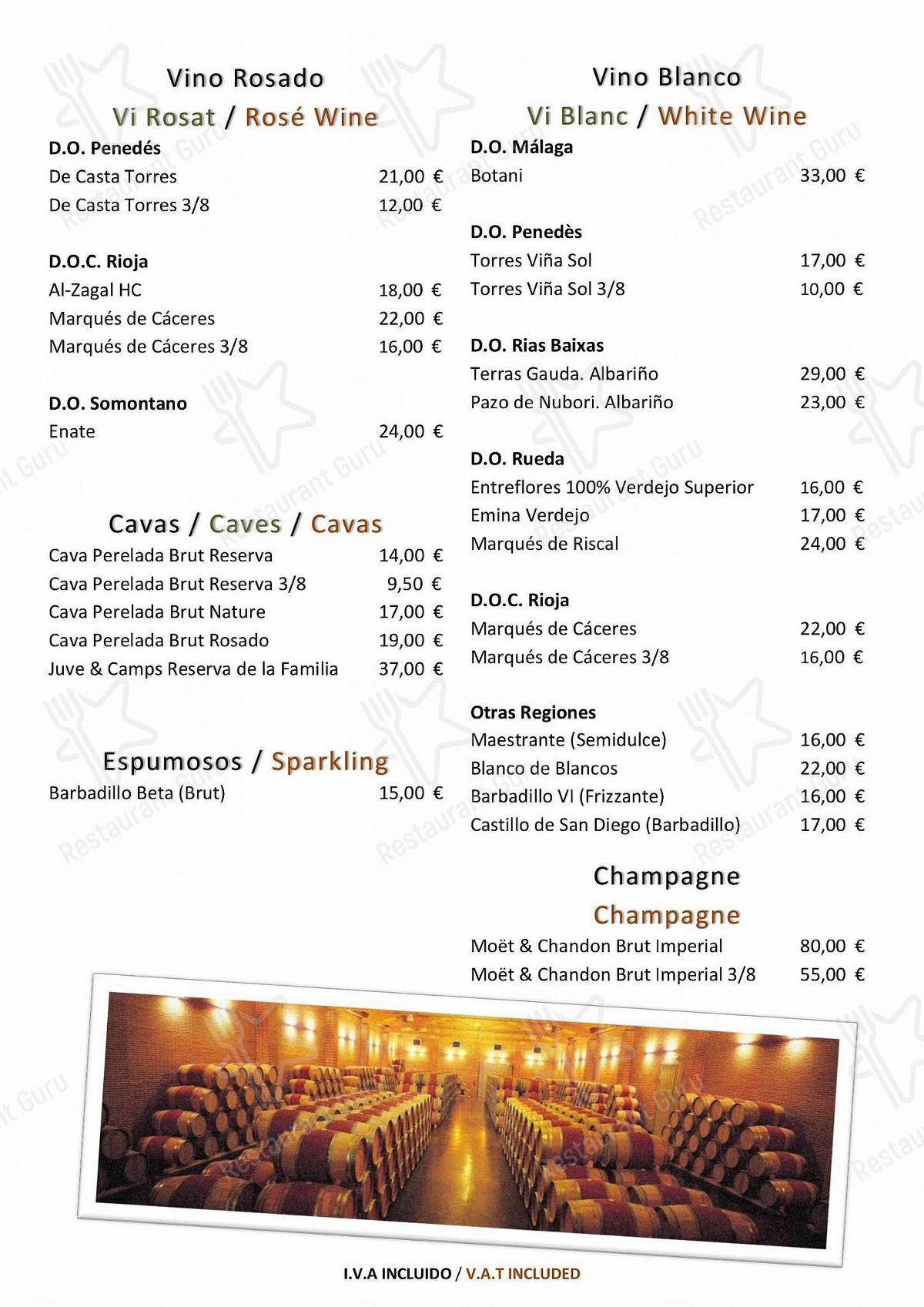 Carta de Balmes 103 - Hotel Barcelona Center - platos y bebidas