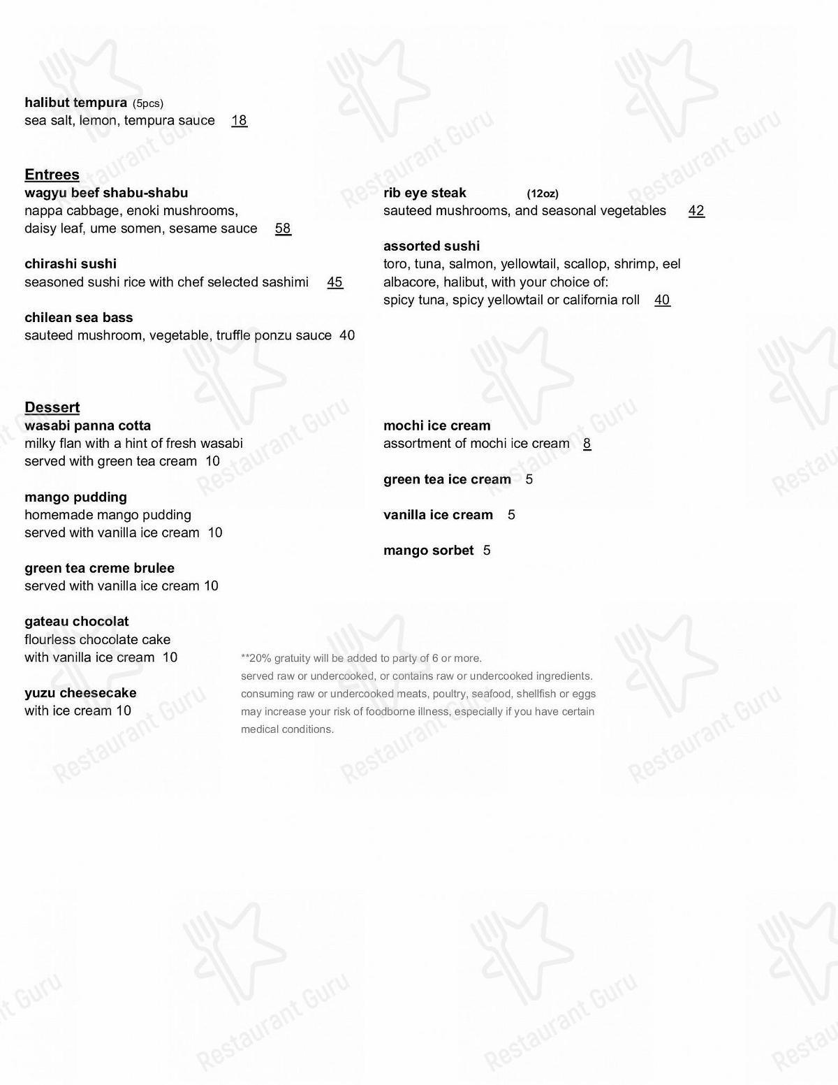 Carta de Bluefin - comidas y bebidas