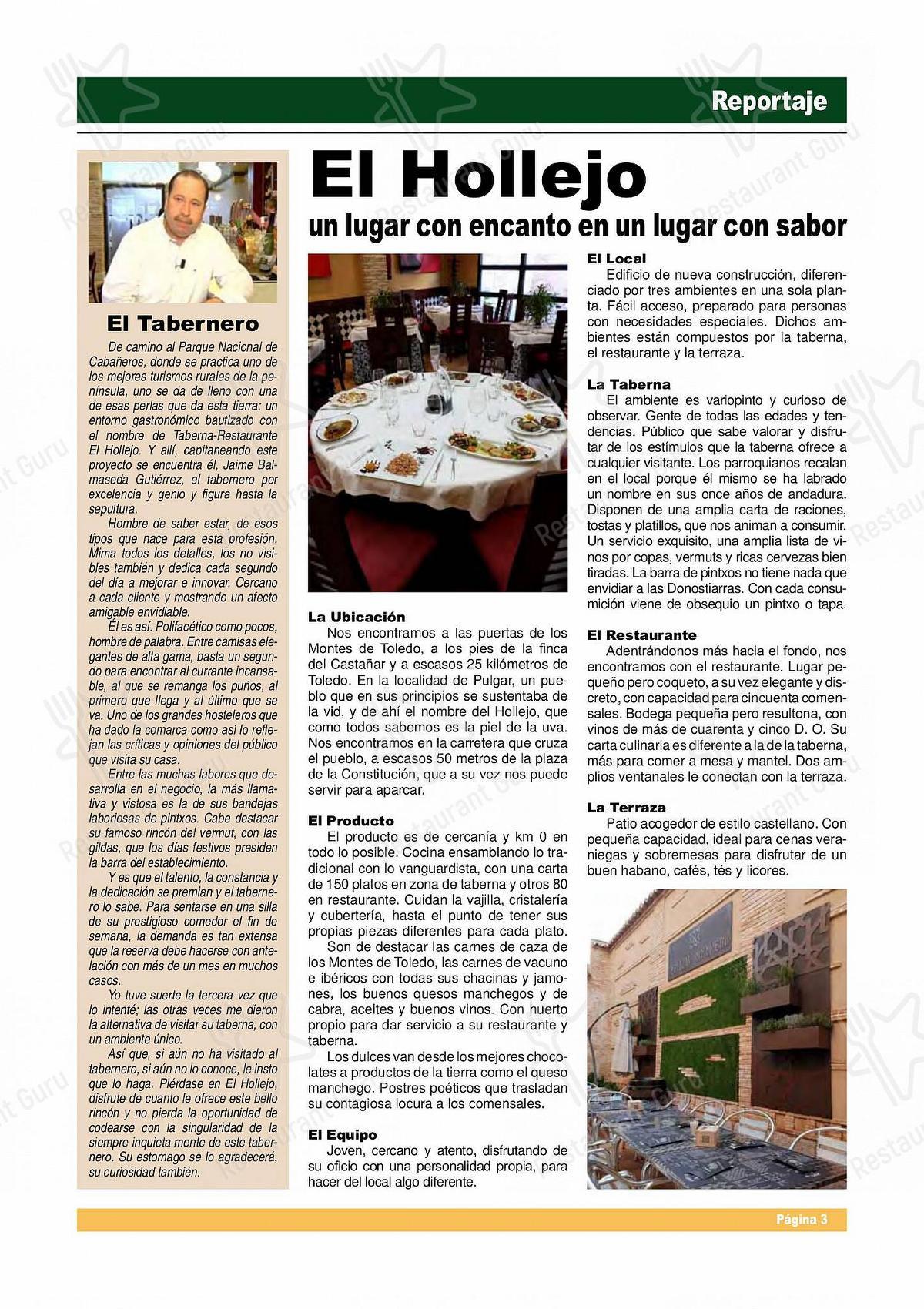 Carta de El Hollejo - platos y bebidas