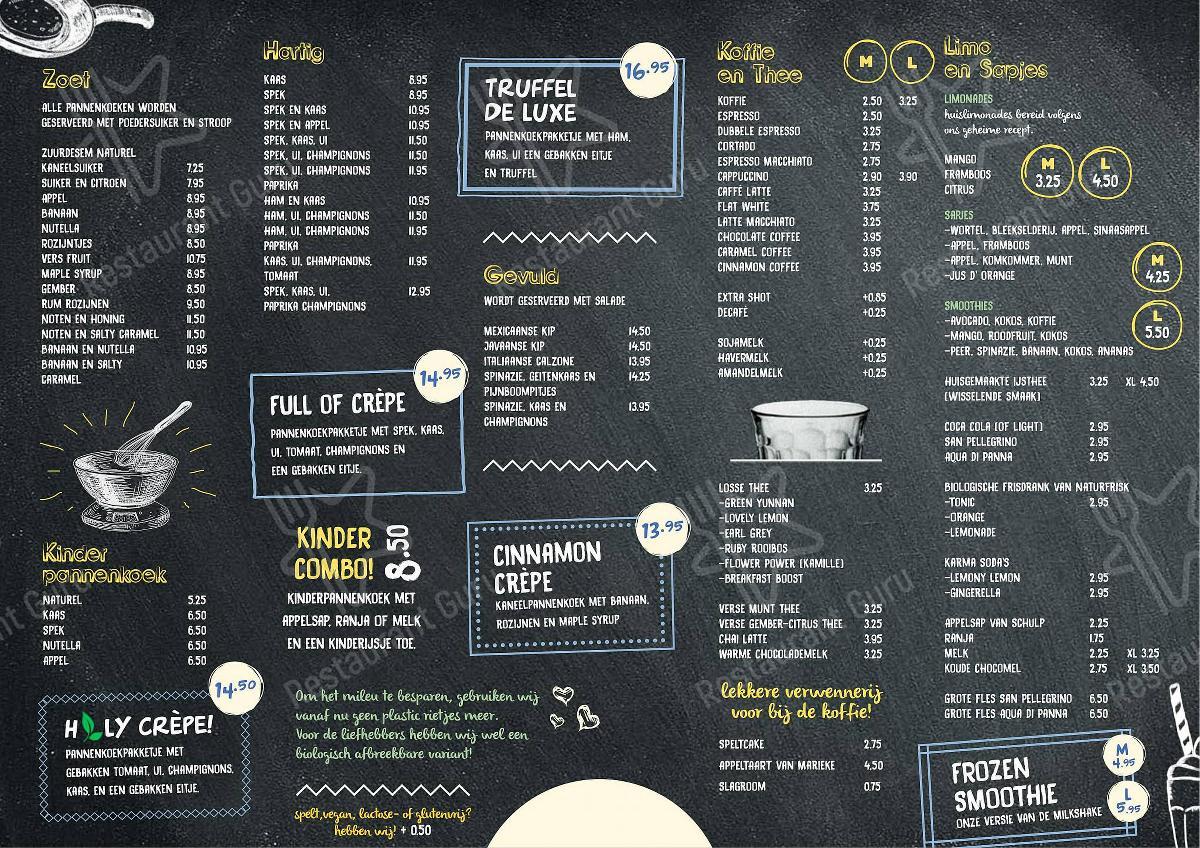 Menu pour IJsland - plats et boissons