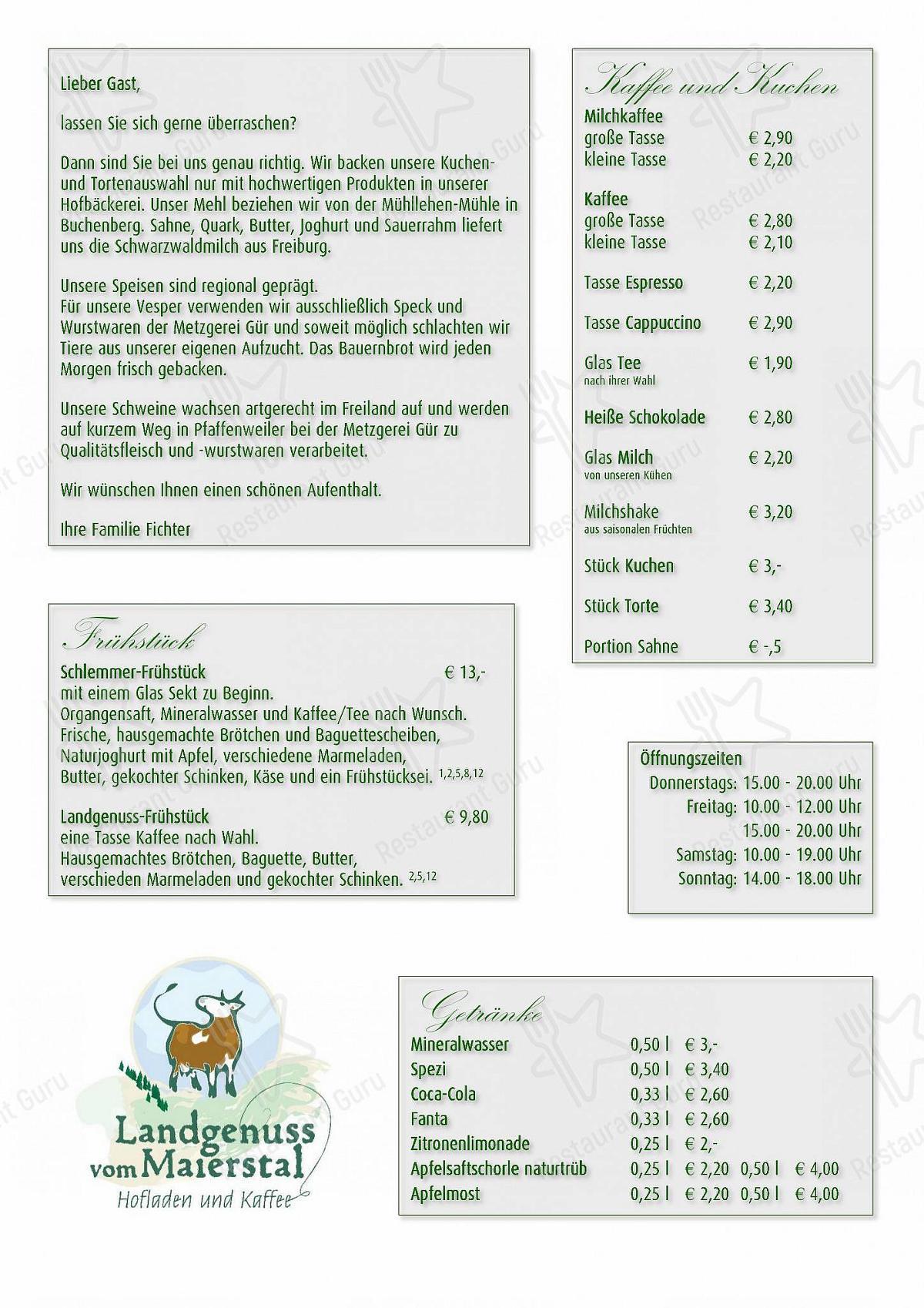 Speisekarte von Landgenuss vom Maierstal cafe