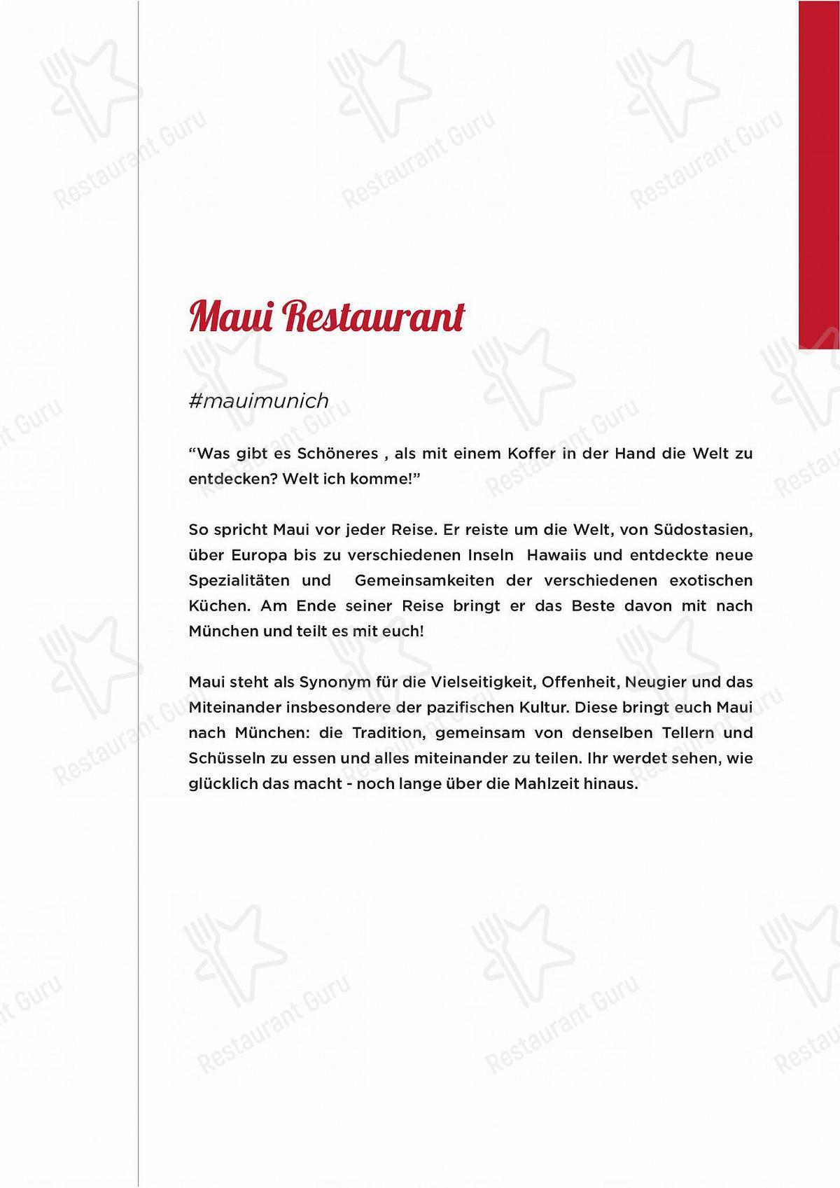 Speisekarte Von Maui Hawasian Kitchen Bar Munchen
