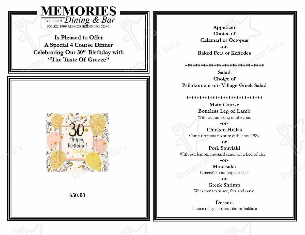 Memories Dining & Bar menu