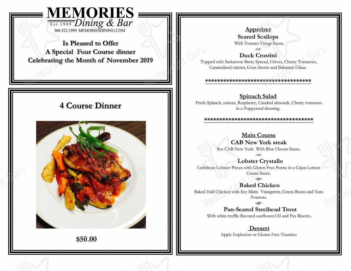 Memories Dining & Bar menu - dishes and beverages