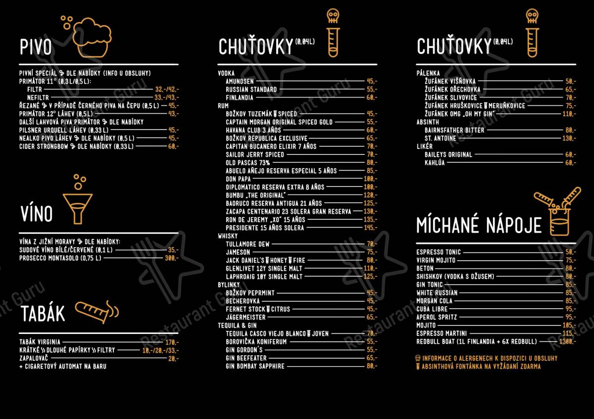 Music Lab menu - dishes and beverages