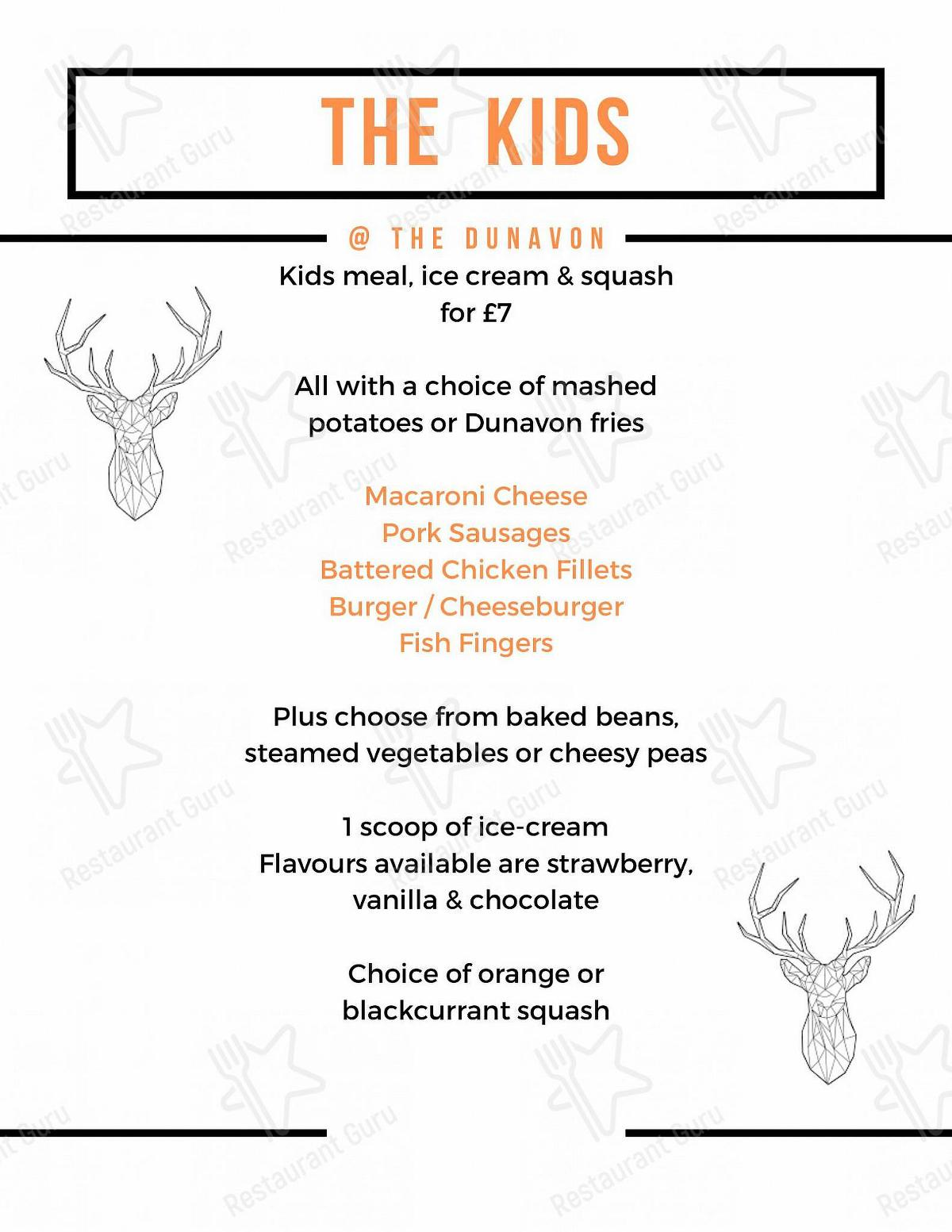 Dunavon House Hotel menu - dishes and beverages