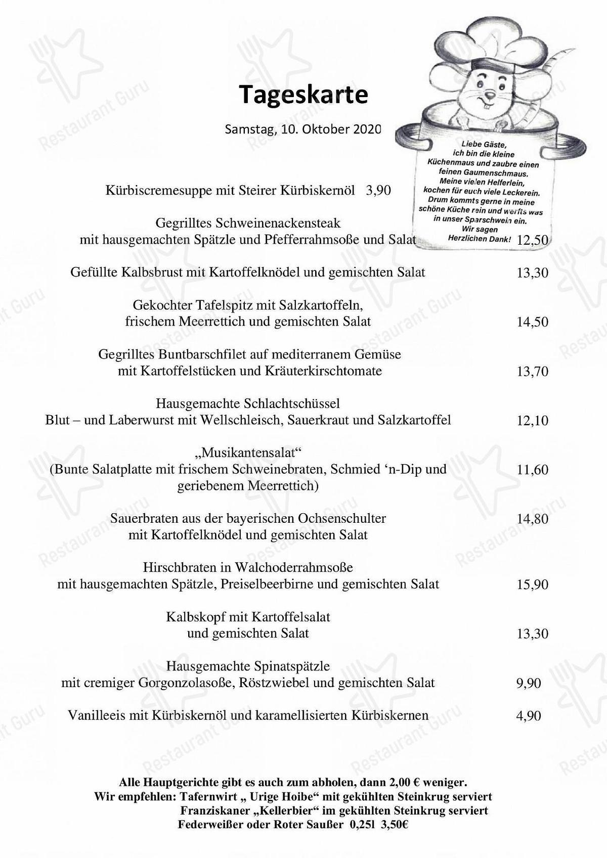 Menu At Reindlschmiede Restaurant Bad Heilbrunn
