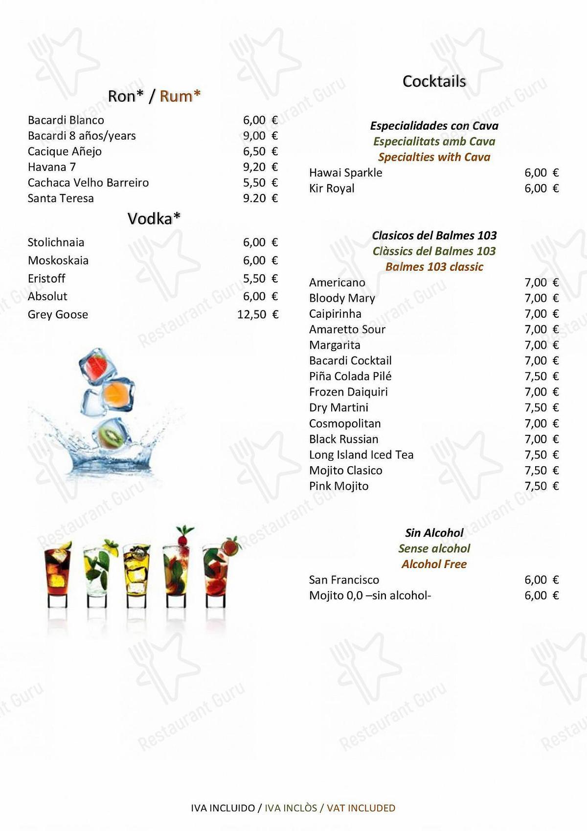 Carta de Balmes 103 - Hotel Barcelona Center restaurante