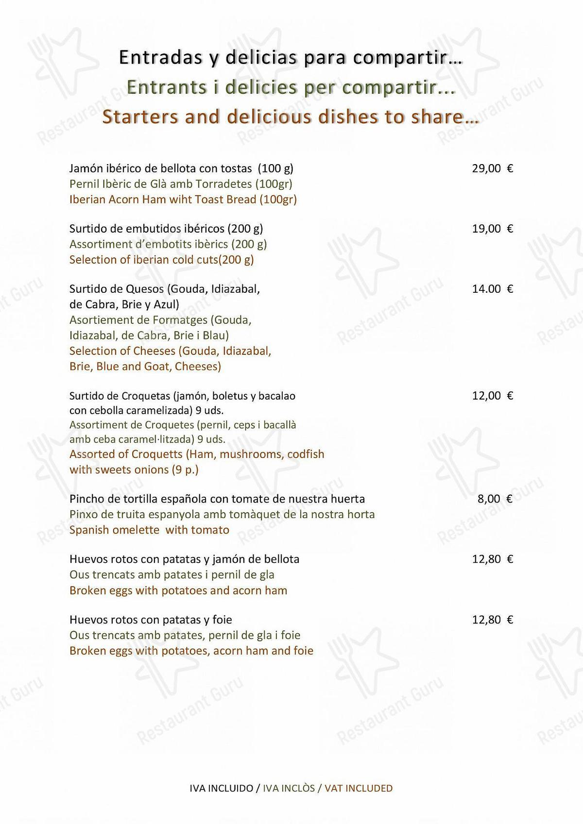 Mira la carta de Balmes 103 - Hotel Barcelona Center