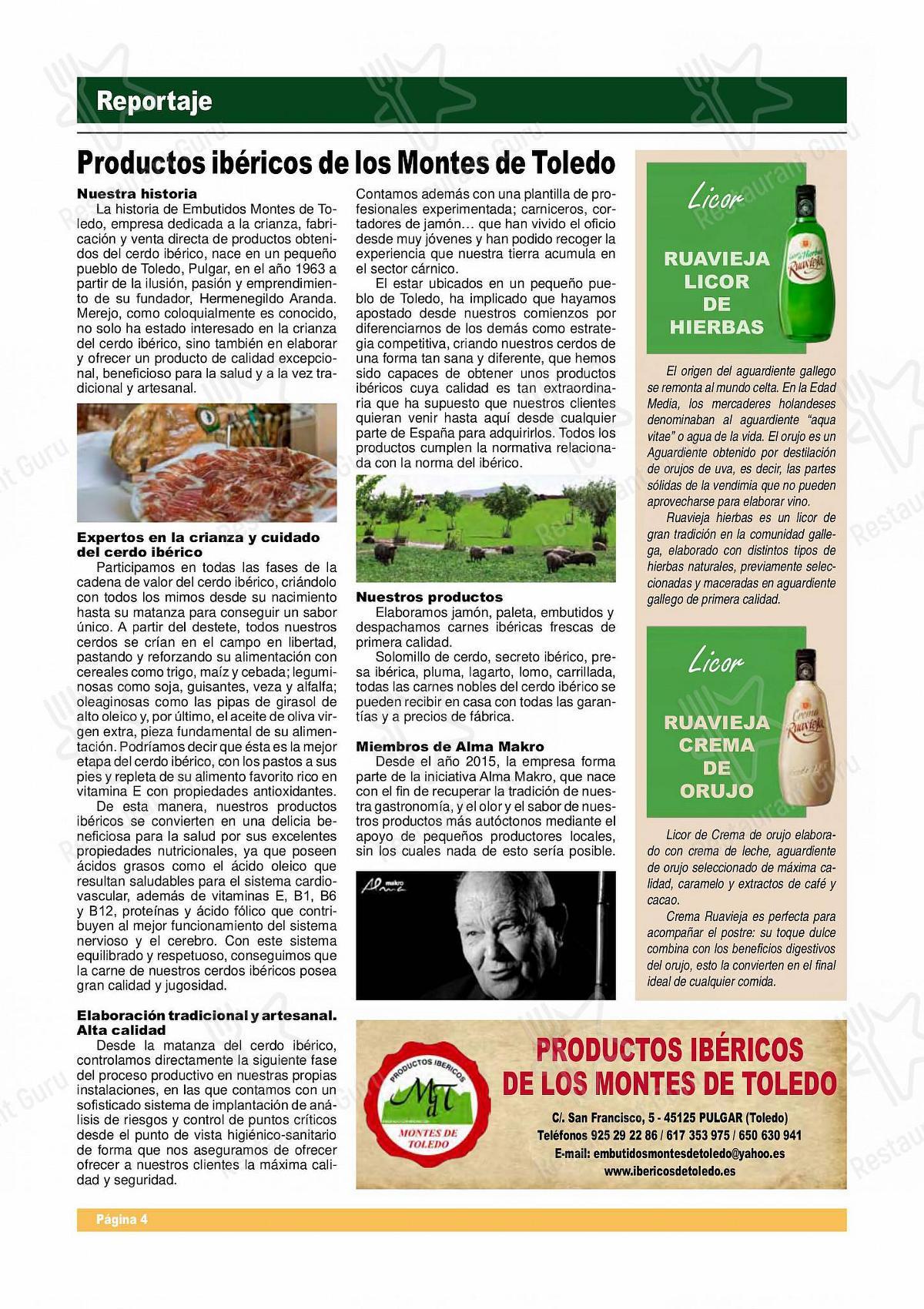Carta de El Hollejo restaurante