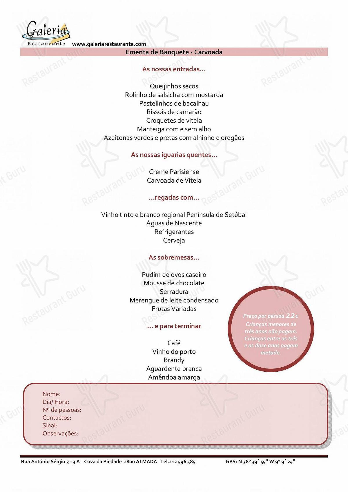 Galeria menu