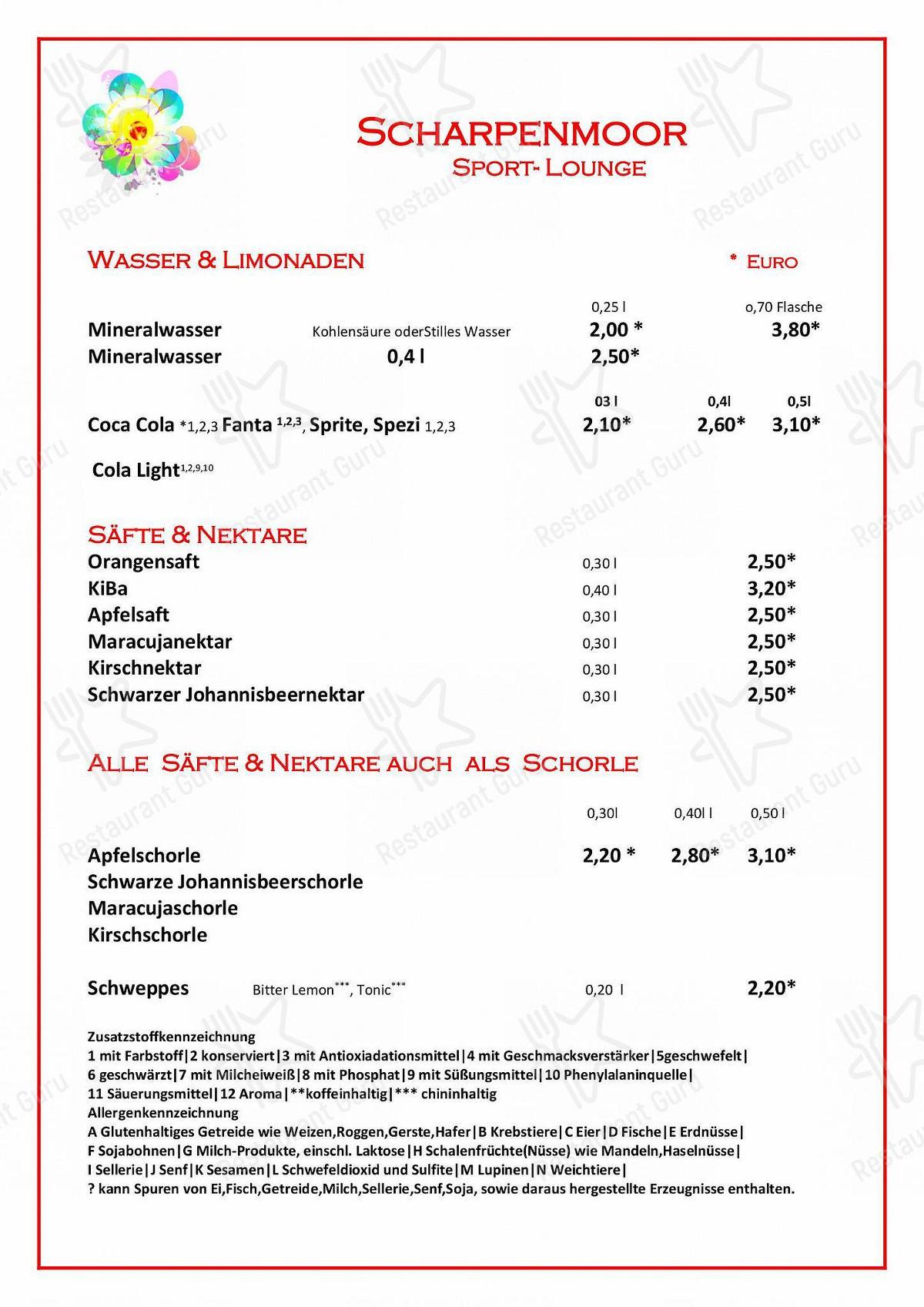 Carta de Restaurant Pizzeria Scharpenmoor