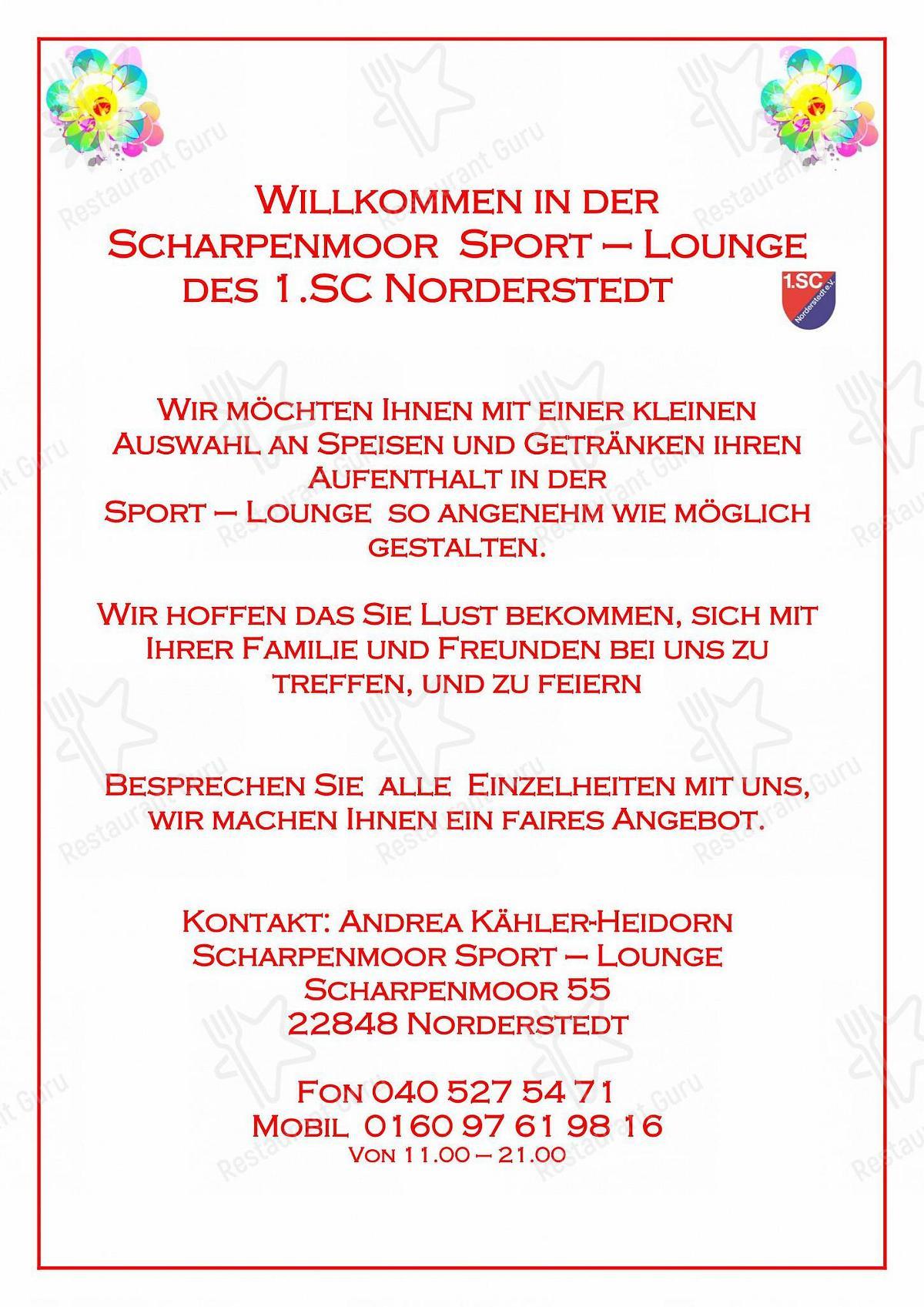 Carta de Restaurant Pizzeria Scharpenmoor pizzería
