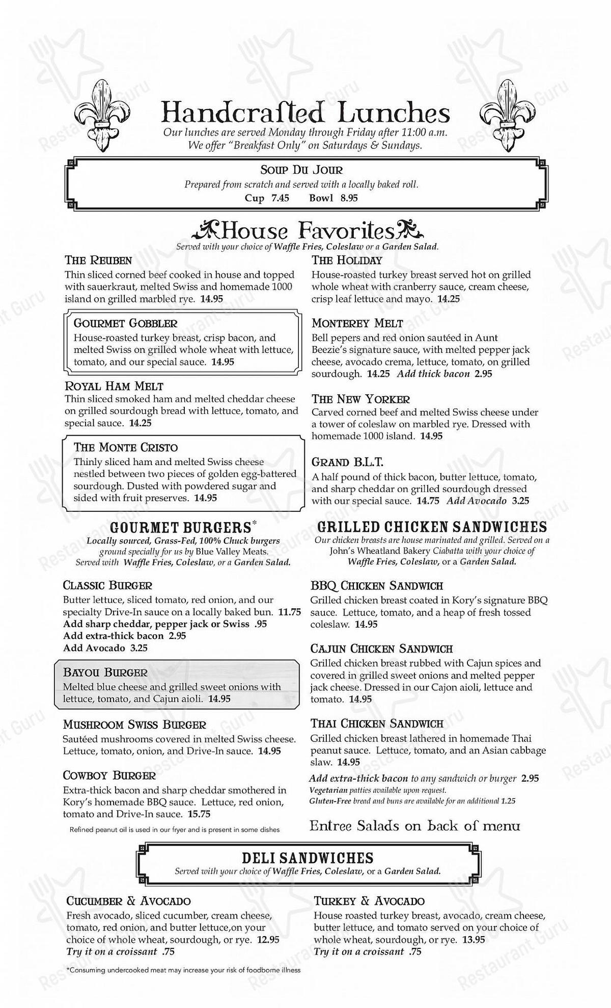 Menu for the The Maple Counter Cafe restaurant