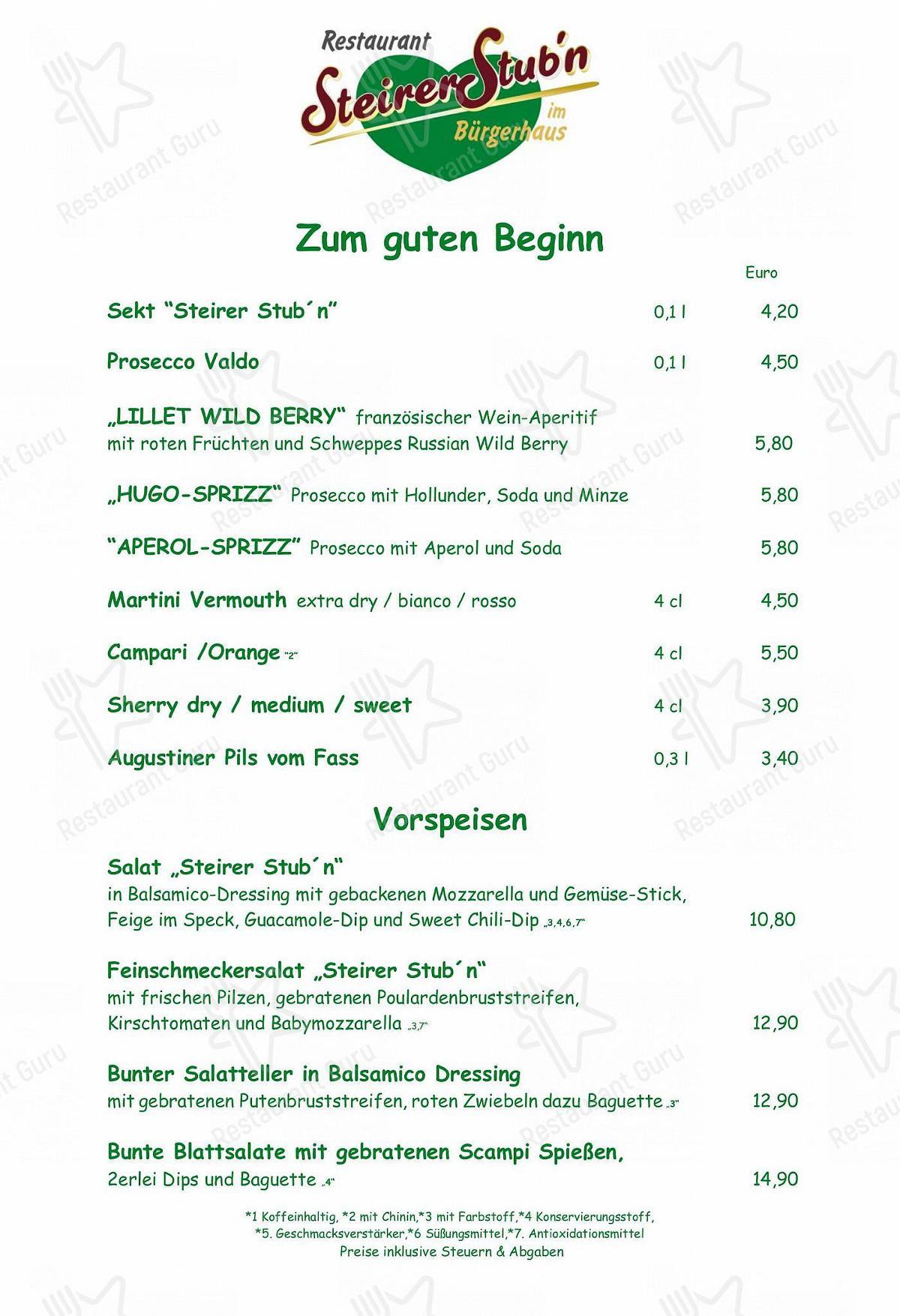 Menu Von Burgerhaus Steirer Stub N Karlsfeld Allacher Str 1 Bewertungen Und Ratings Vom Deutsch Restaurant