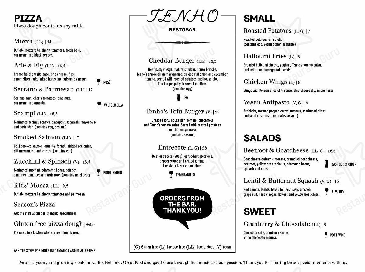 Меню для посетителей пиццерии Tenho Restobar