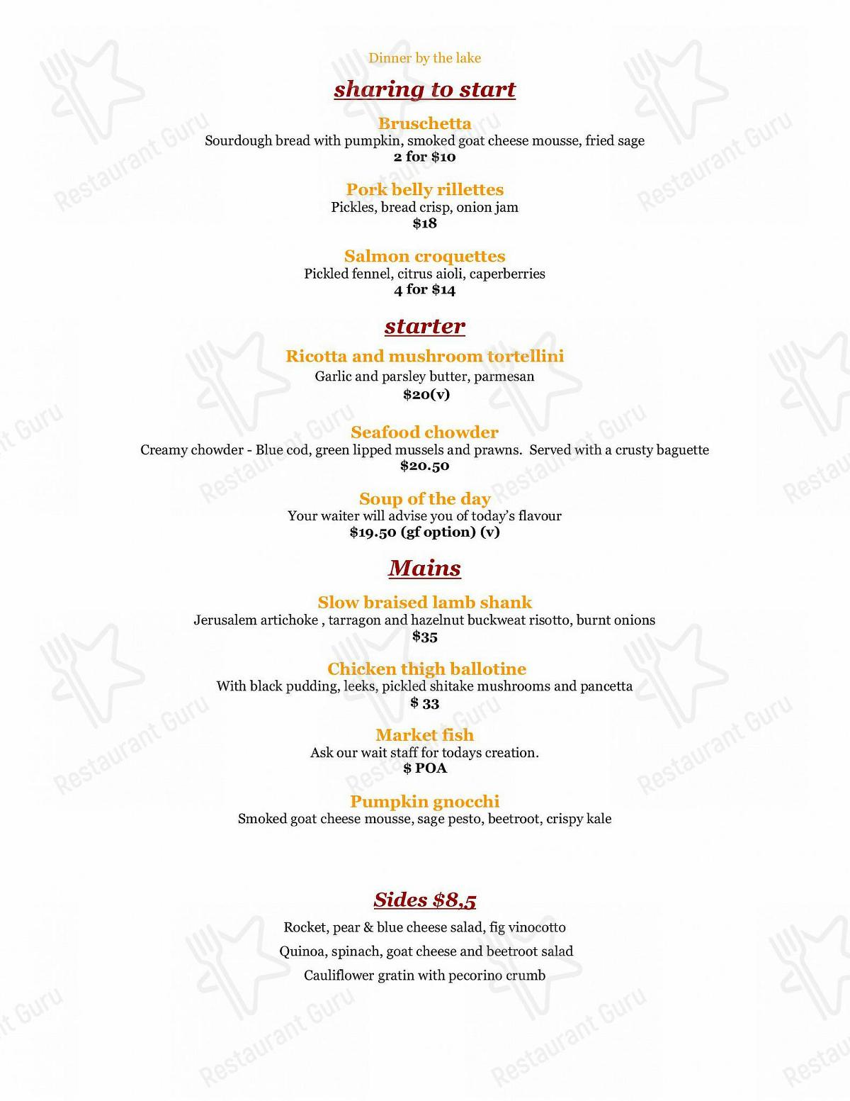 The Bathhouse menu - meals and drinks