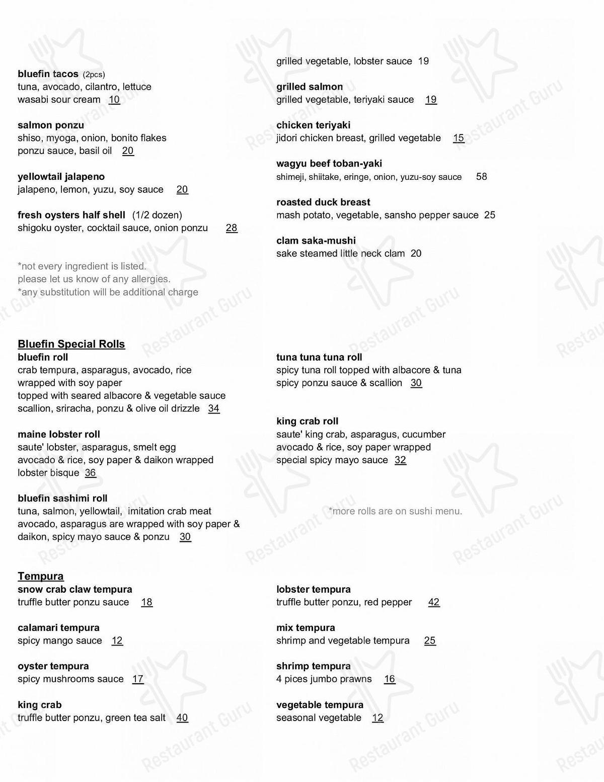 Carta de Bluefin - platos y bebidas