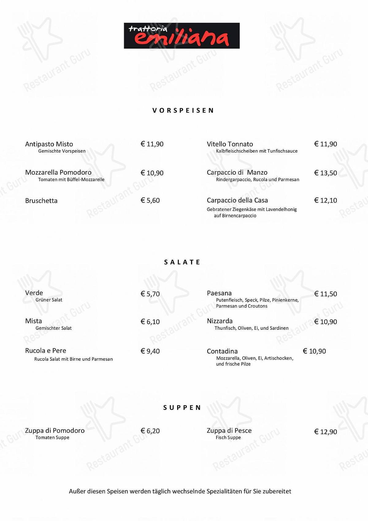 Меню для посетителей ресторана Trattoria Emiliana - Düsseldorf (Pempelfort)