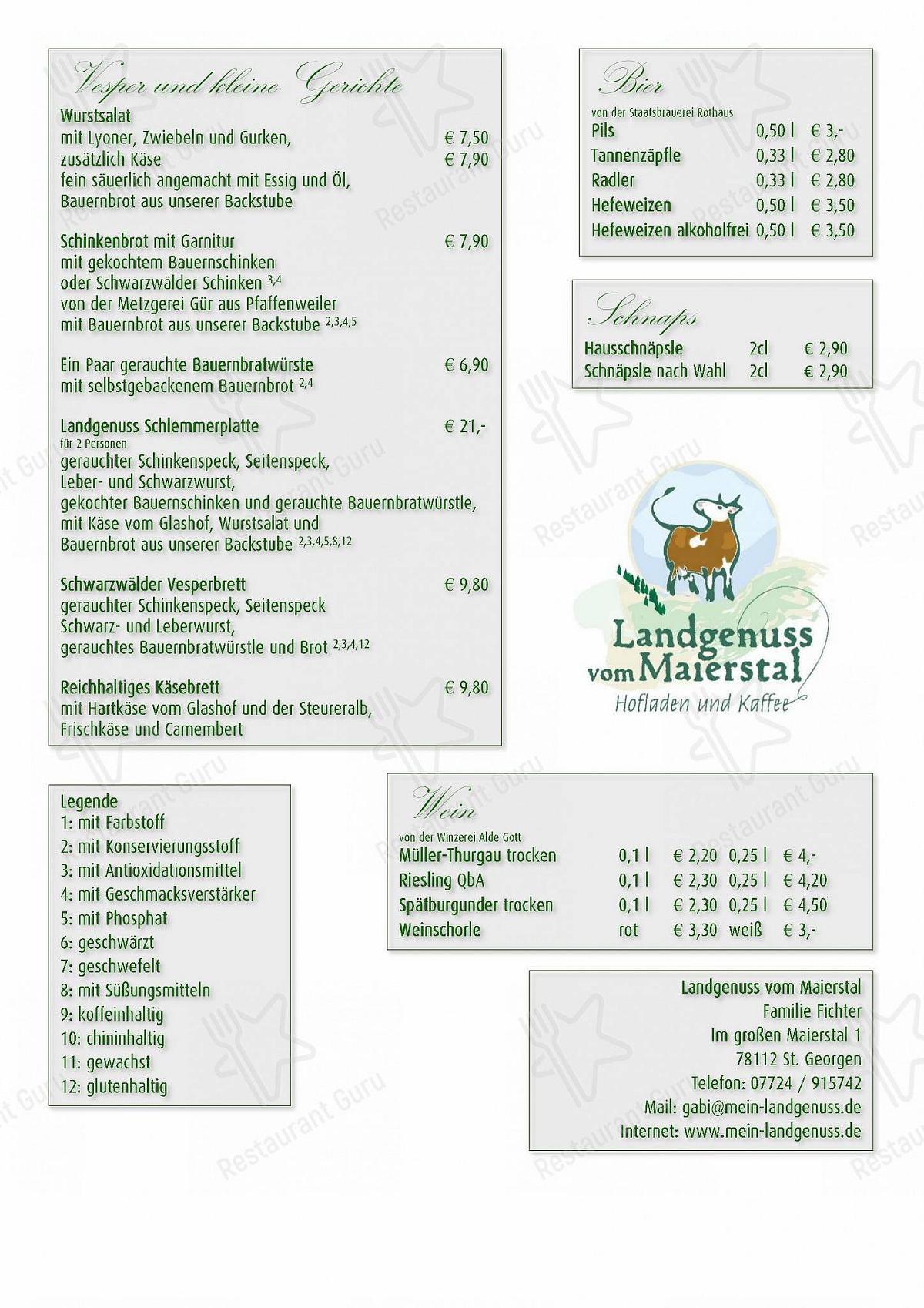 Landgenuss vom Maierstal Speisekarte - Gerichte und Getränke