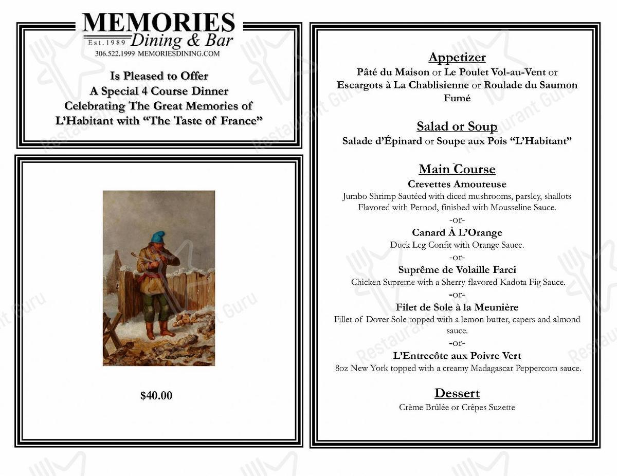 Menu for the Memories Dining & Bar restaurant