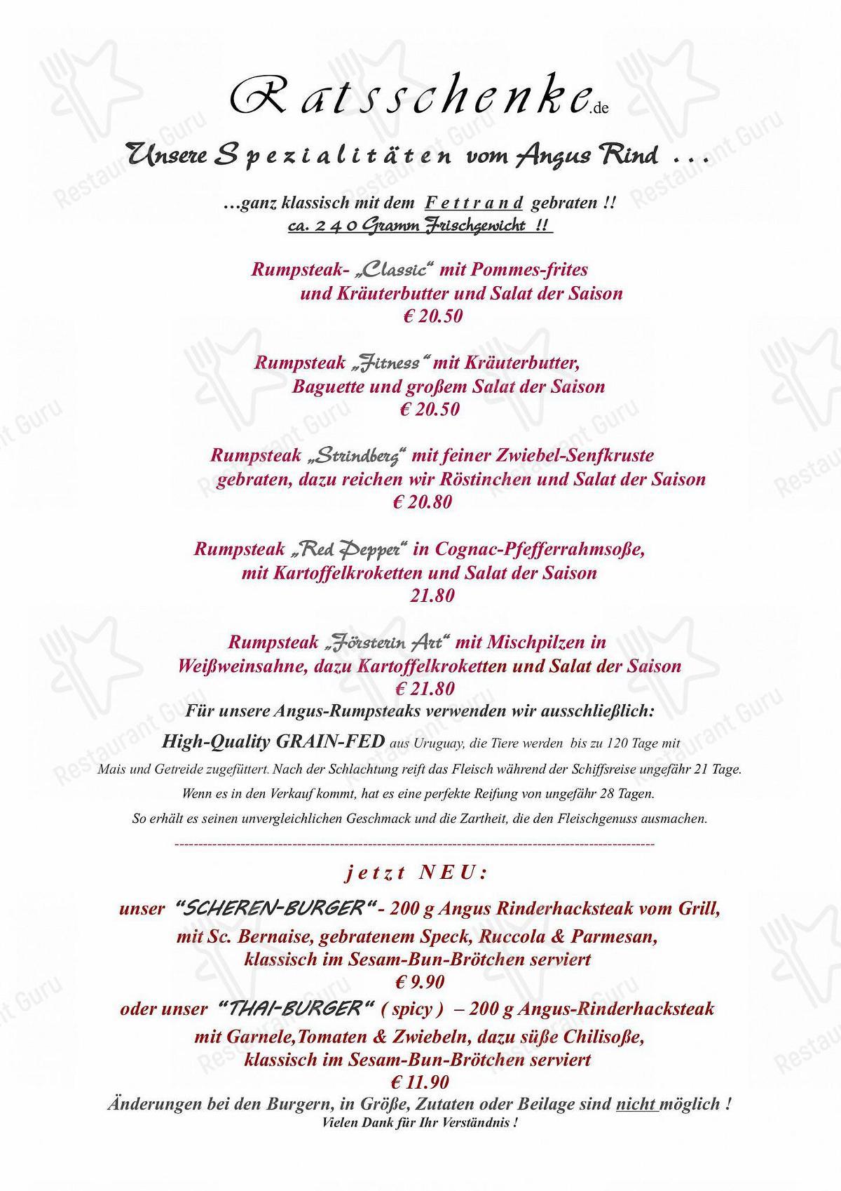 Carta de Ratsschenke restaurante