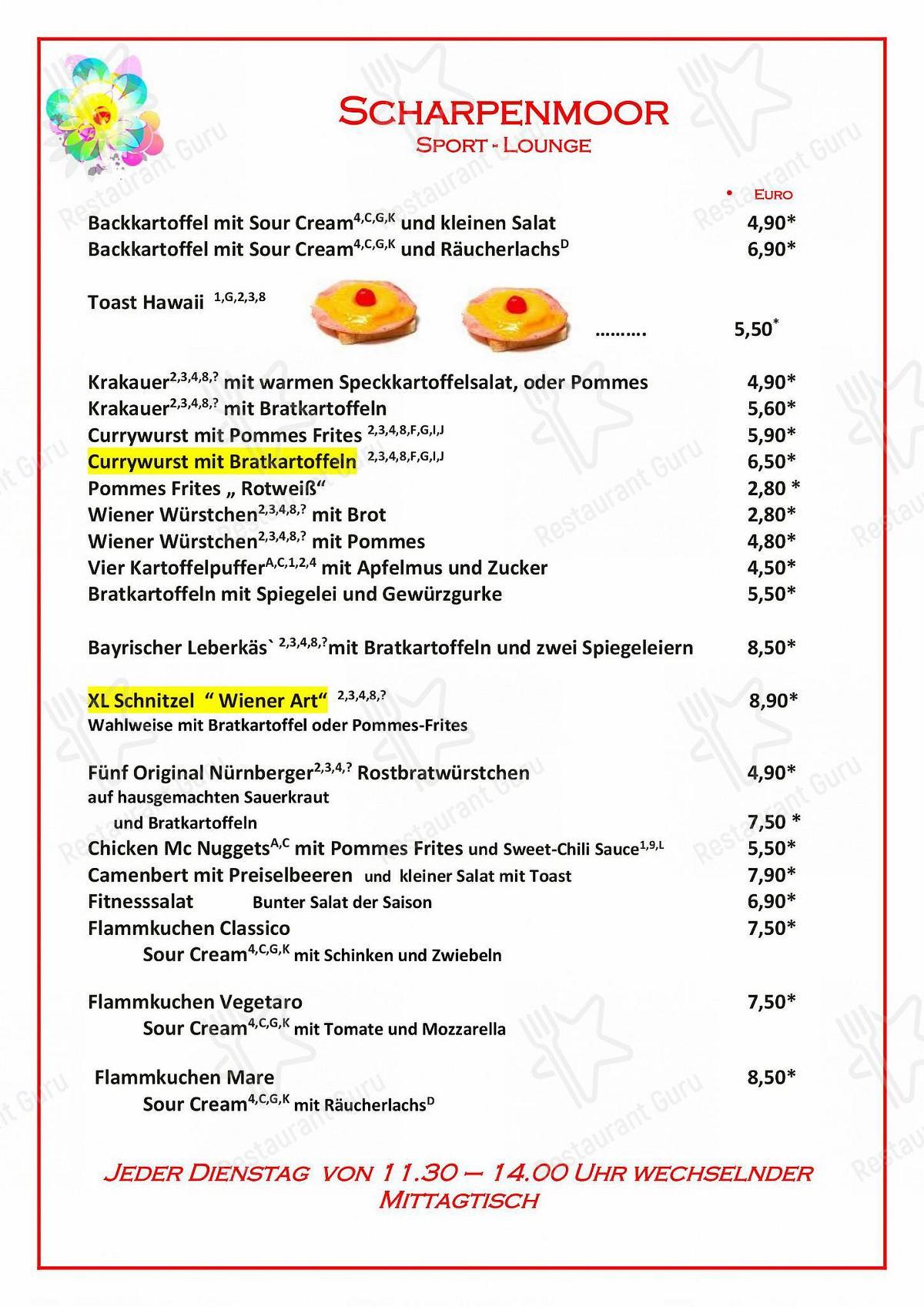 Carta de Restaurant Pizzeria Scharpenmoor - comidas y bebidas