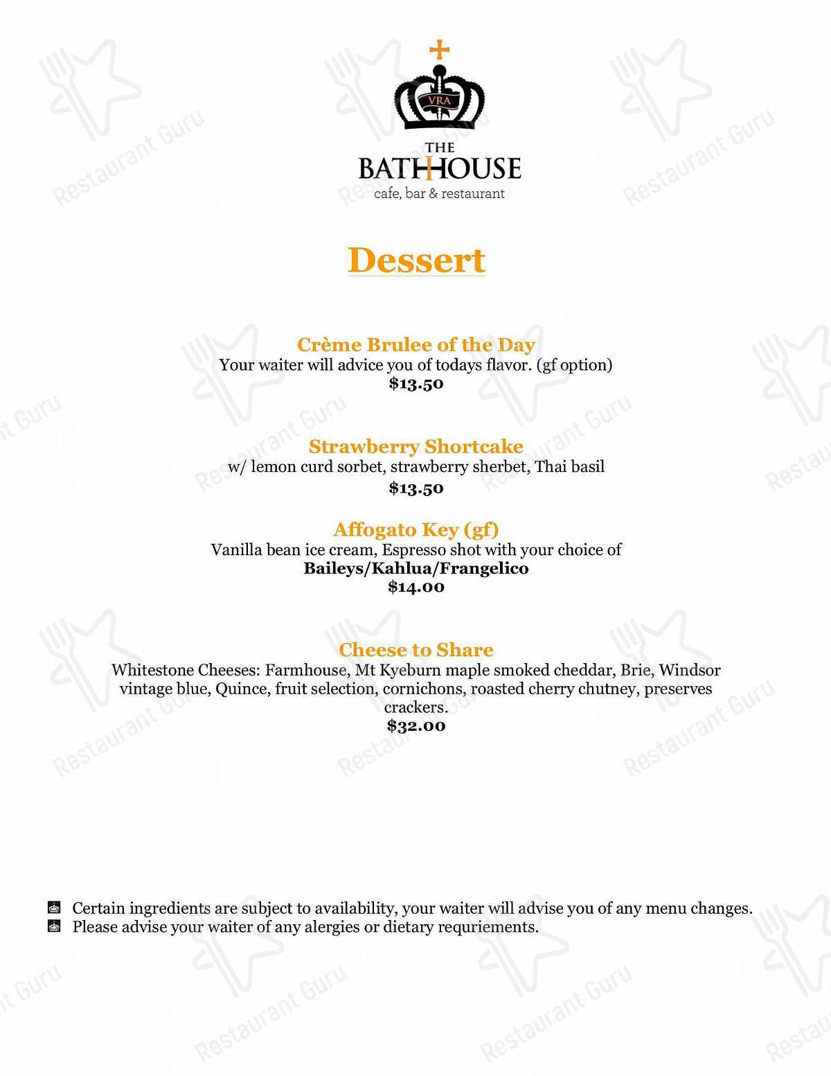 Menu for the The Bathhouse pub & bar