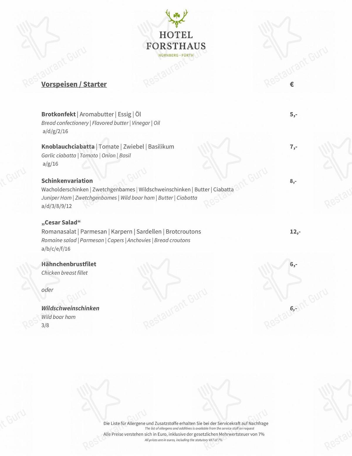 Speisekarte maximilians max Bar паба и бара NH Forsthaus Furth в Фюрте