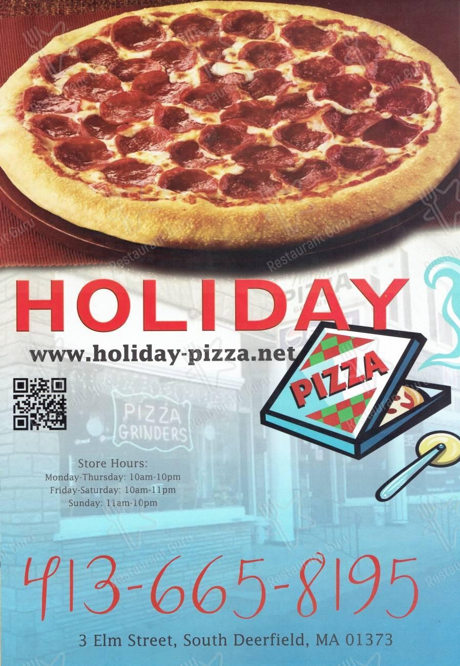 Holiday Pizza menu